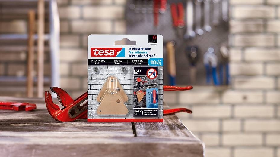 How to use the tesa® Adhesive Screw Triangular for Brick & Stone 10kg.