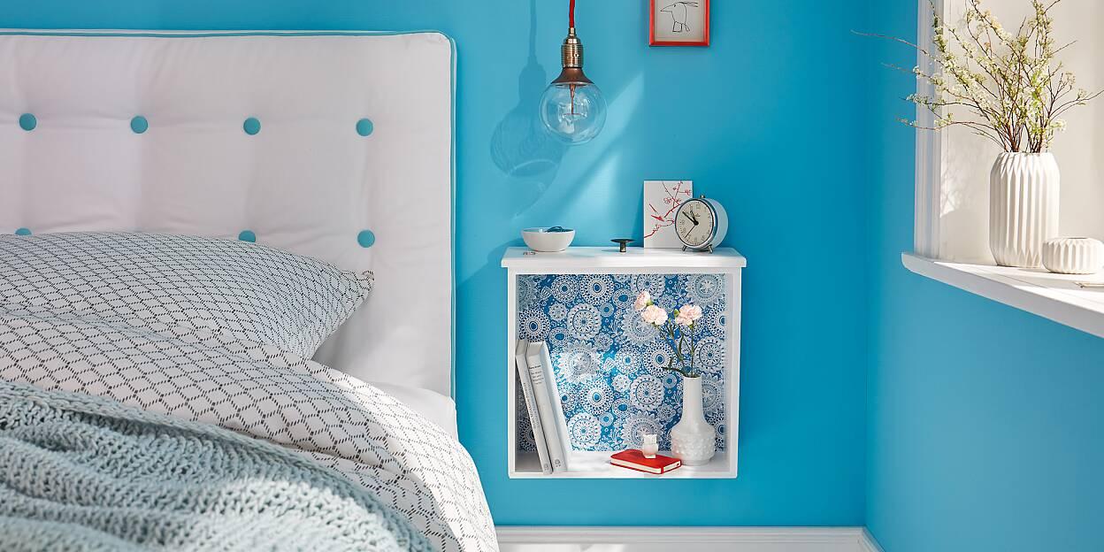 nachttisch selber bauen tesa. Black Bedroom Furniture Sets. Home Design Ideas