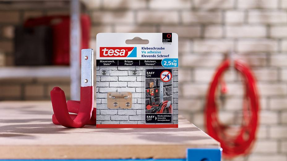 How to use the tesa® Adhesive Screw Rectangular for Brick & Stone 2.5kg.