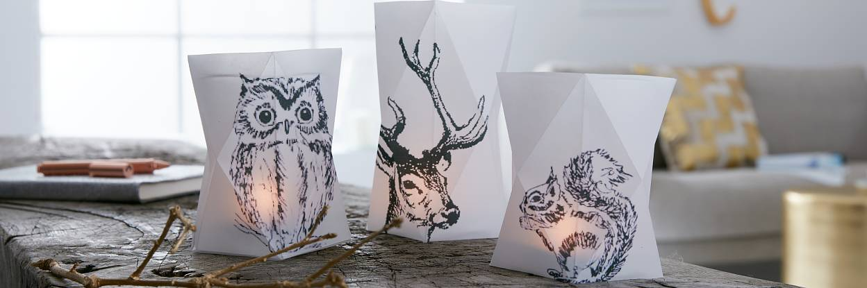 Not only all colors will agree in the dark. Also the forest animals shed their colors and appear in black. However, the candles in the folded paper lanterns make the animals glow.
