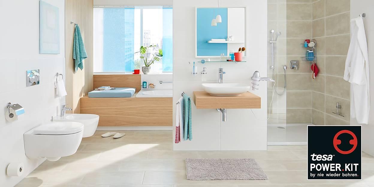 Badezimmer einrichten ohne Bohren - tesa