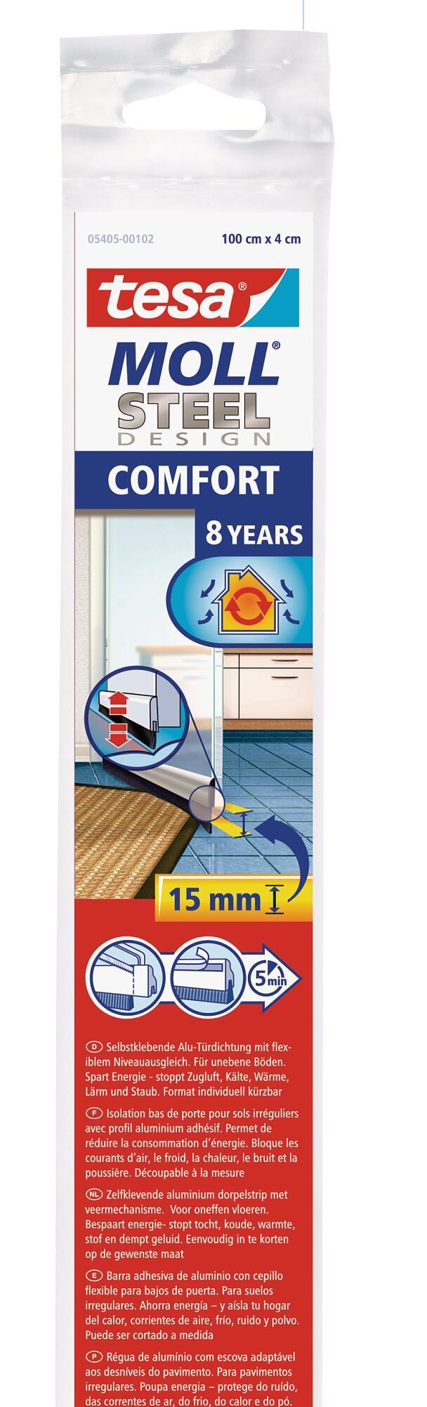 3 x tesamoll 05405 Comfort Türdichtschiene für unebene Böden