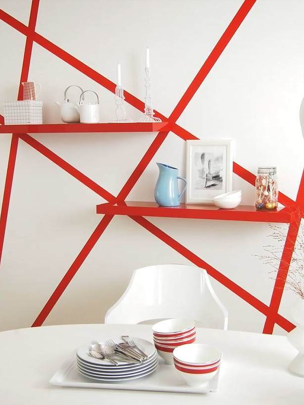 Creative Wall Art with Red Stripes