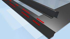 A metal construction is fixed by using double-sided tape.