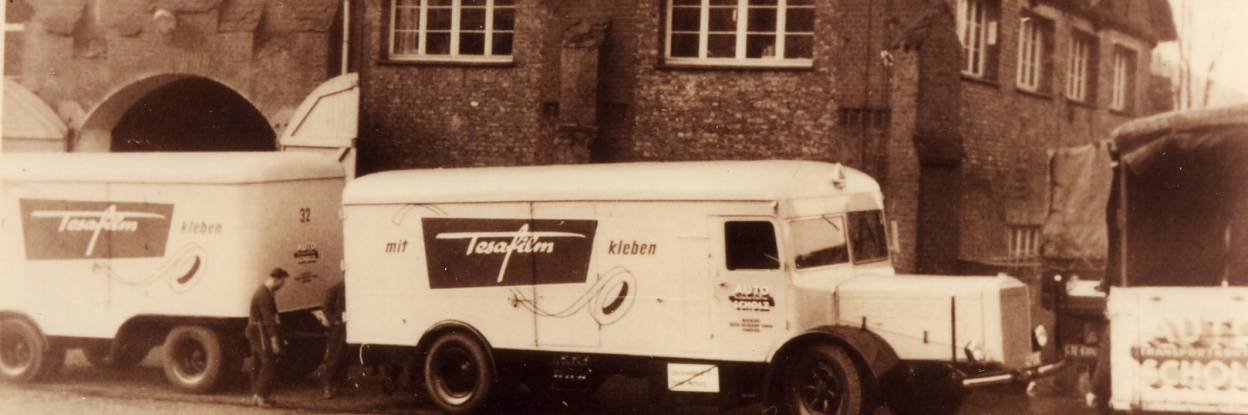 In the 1950s tesa trucks and also branded trains and busses could be seen all over Germany.