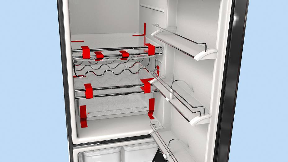 During transport, glass shelves and loose bins are fixed with strapping tape.