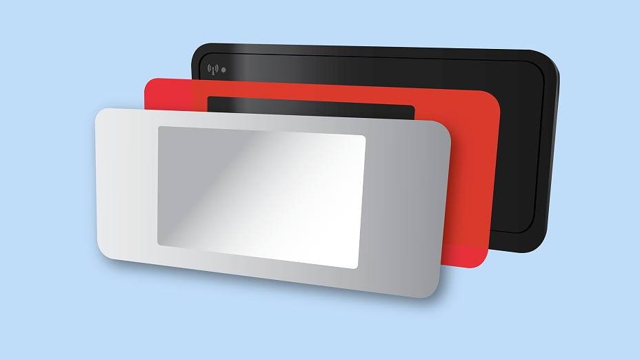 Displays are mounted onto the device with double-sided tape.