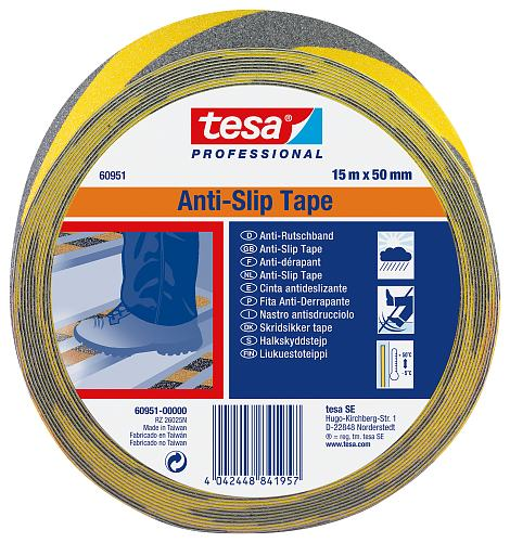 tesa Professional Anti-slip tape, yellow-black,15m x 50mm