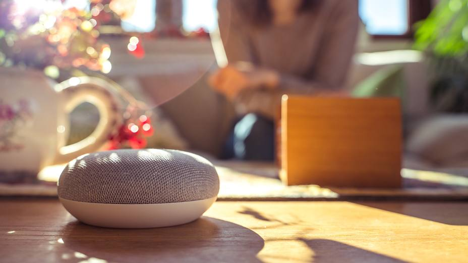voice controlled smart speaker in a interior home environment. Smart home ai concept