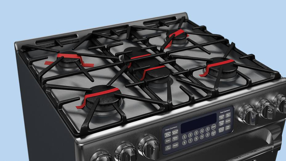During transport the metal cooktop is kept in place by using adhesive tape.