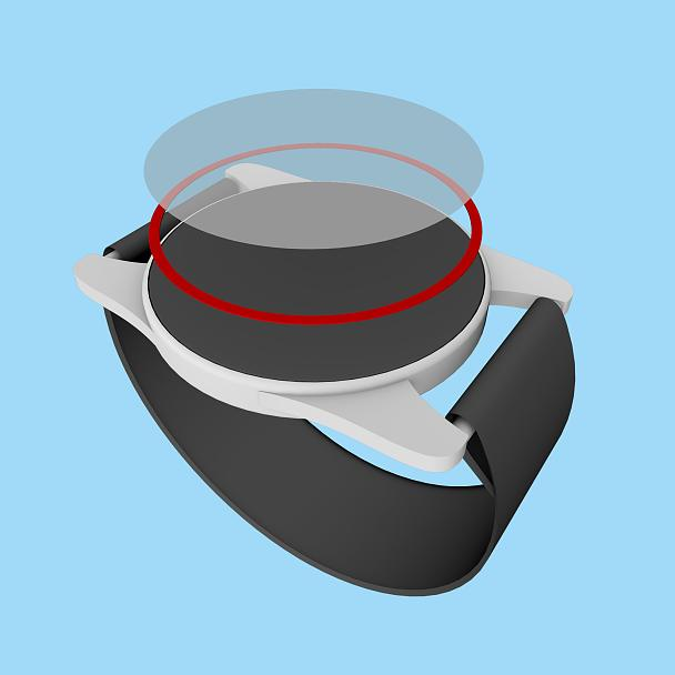 The cover (the lens) of a smartwatch must be bonded to the housing with the utmost precision during the manufacturing process. The tape (red) has to meet a wide range of requirements, providing high adhesive strength, shock resistance, and resistance to chemical substances.