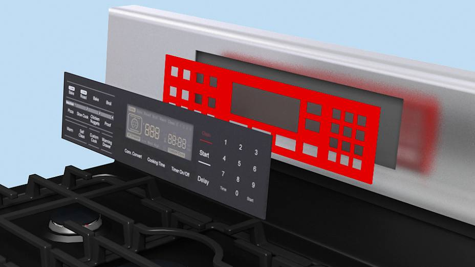Control panels are mounted to the appliance with double-sided tape.