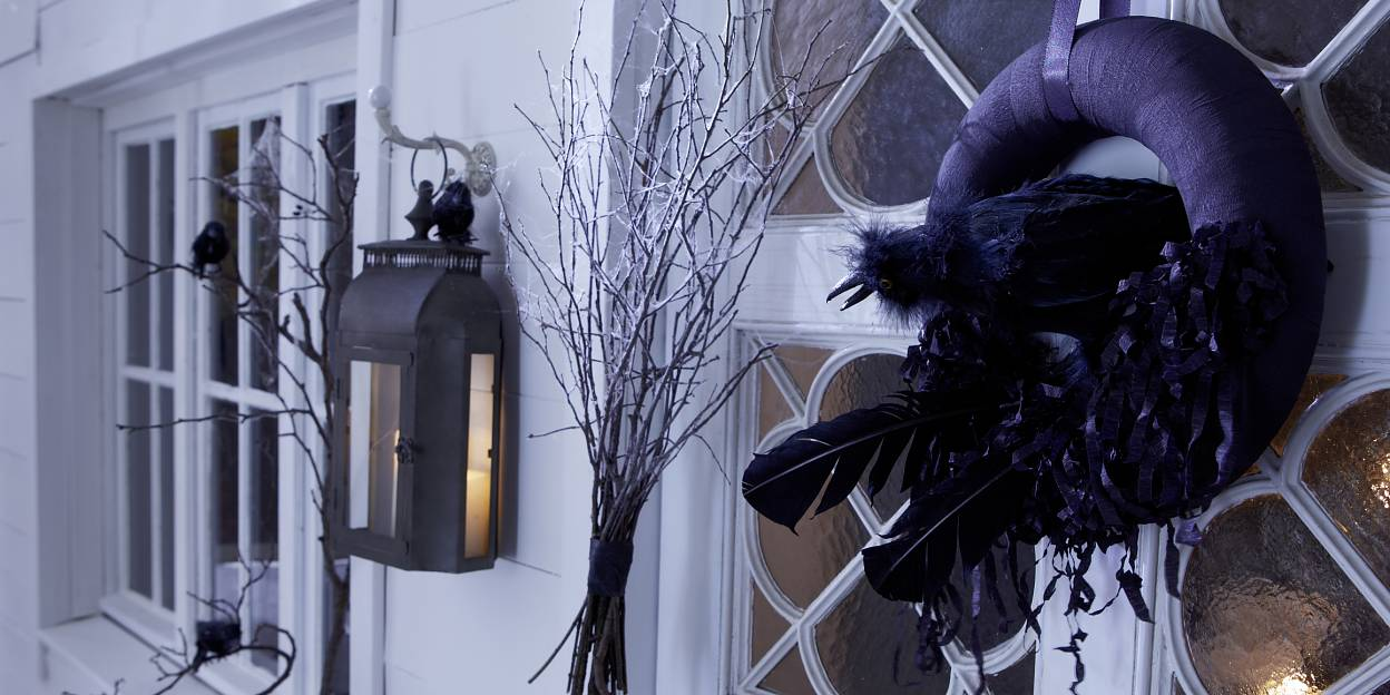 A black raven in its nest is guarding the door on Halloween.