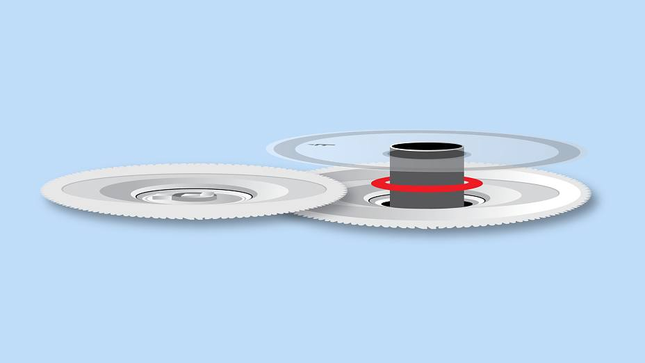Flywheel Discs are mounted to the plastic substrate with a die cut.