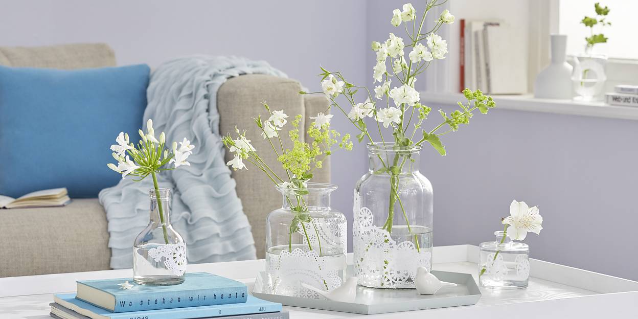 DIY doily flower vases