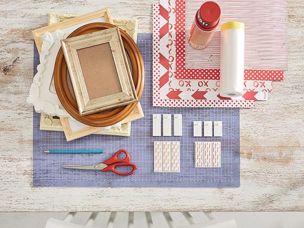 Overview of materials needed for a DIY gallery wall for kids