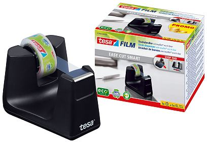 The refillable desk dispenser Smart is suitable for adhesive tape rolls with 19 mm width and up to 33 meters length - it is delivered with a roll tesafilm® eco-clear. 53903-00000-00 4042448259745 tesaÃ'®Desk Dispenser Smart + 1x Crystal Clear 10m:15mm 53904-00000-00 4042448259752 tesaÃ'®Desk Dispenser Smart + 1x eco&clear 10m:15mm