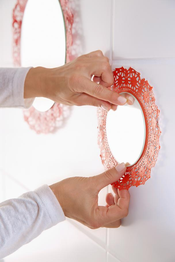 DIY Lacy Mirror for Bathroom / Step 9: Attach to wall