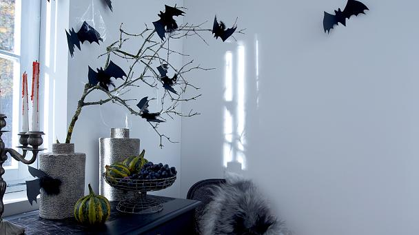 Bat alert in the corner! But don't worry, the little glitter vampires only fly on Halloween.