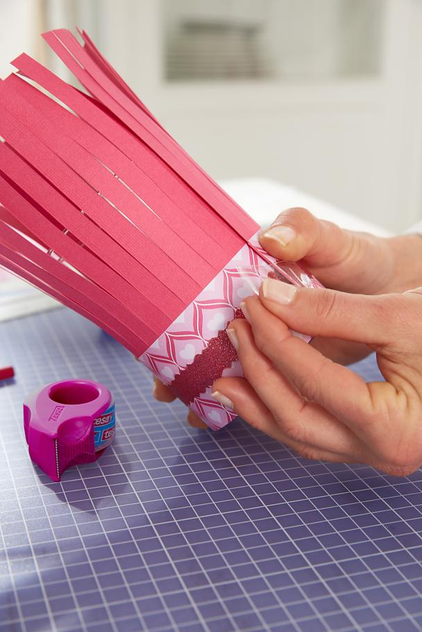 DIY Valentine's Day Lanterns / Step 6: Put sleeve around the lantern