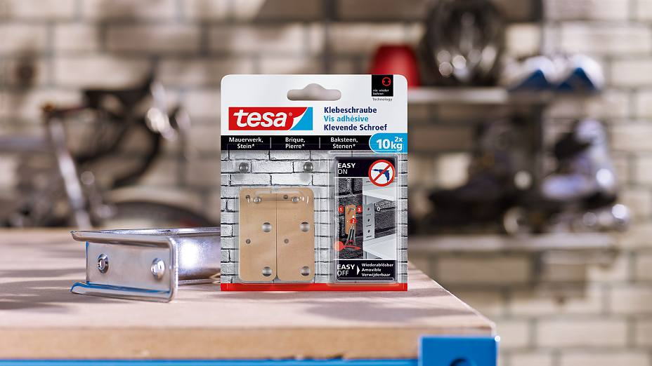 How to use the tesa® Adhesive Screw Rectangular for Brick & Stone 10kg.