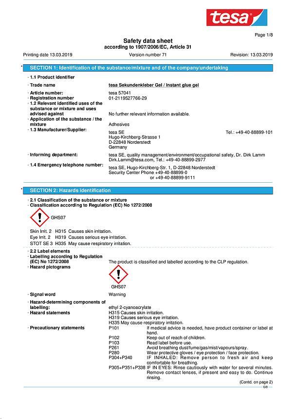 Material Safety Data Sheets Tesa