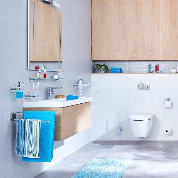 Clear design and straight structures for an organized bathroom experience.