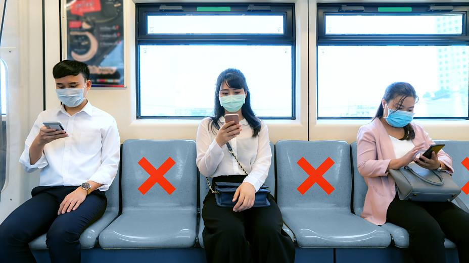 Social Distancing Tapes in Public Transportation