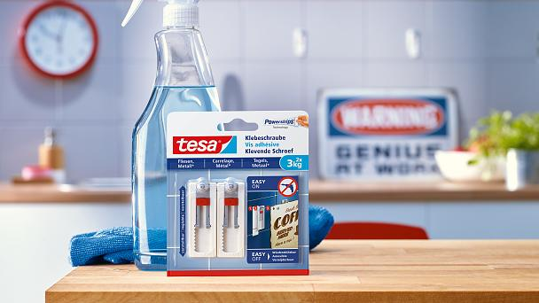How to use the tesa® Adjustable Adhesive Screw for Tiles & Metal 3kg.