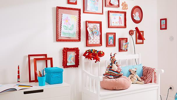 Colour themed art wall for children