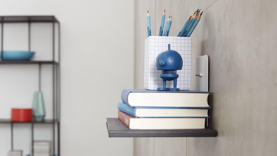 fixation d une petite tag re sans per age tesa. Black Bedroom Furniture Sets. Home Design Ideas