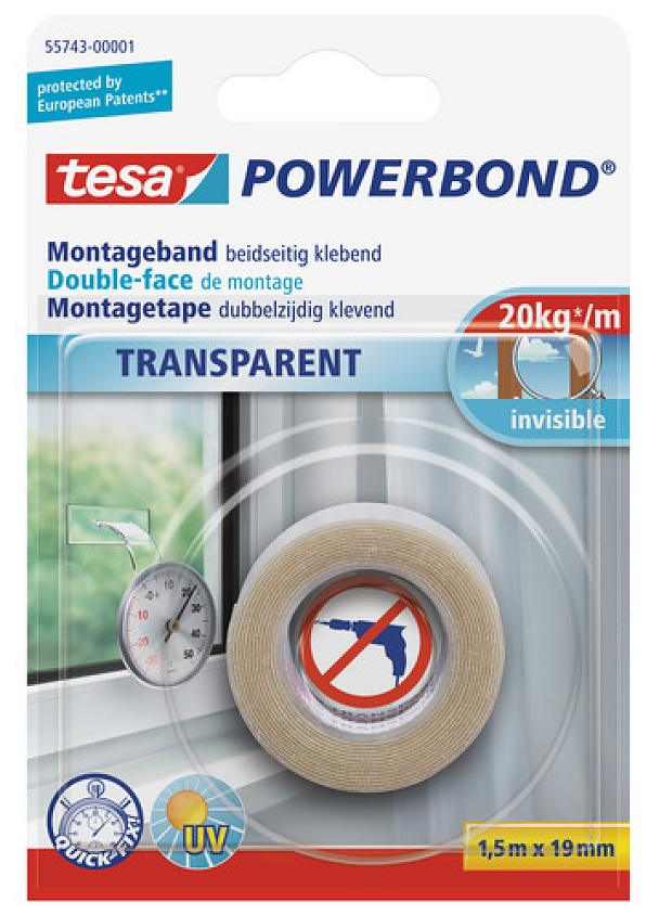tesa® Powerbond TRANSPARENT is a versatile mounting tape for many indoor applications. The double-sided self-adhesive tape is perfectly suited to fix any transparent object or anything that needs to be attached to a transparent surface. It is crystal clear and extra thin and will stick to any flat surface made of materials such as glass, tiles, wood and most plastics. In good bonding conditions, a strip of just 10 cm is enough to hold a weight of up to 2 kg.
