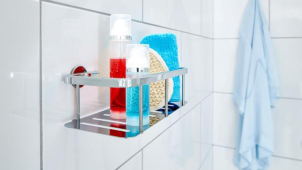 Keep your daily shower supplies ready at hand, within arm's reach but out of reach for water drops.