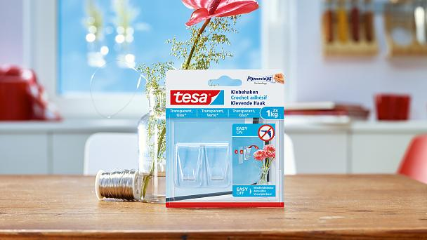 How to use tesa® Adhesive Hooks for Transparent & Glass 1kg.